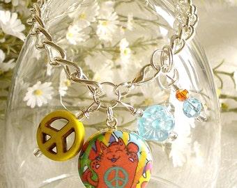 Colorful Groovy Flower Power Peace Cat in Orange Charm Drop or Starter Charm Bracelet