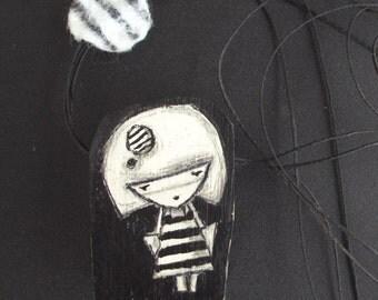 girl with stripes wooden neckalce