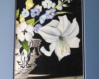 Vente les jours de pluie parapluie peinture aquarelle for Aquarelle fleurs livraison gratuite