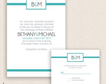 TEAL & FRESH - DIY Printable Wedding Set - Invitation and Reply Card