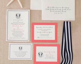 Romantic Beach Wedding Invitations- Rustic Seahorse Wedding Invitation Sample Pack