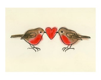 "Love Bird Art print -   True Love - (6"" X 4"" print) 4 for 3 SALE"