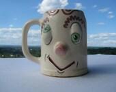 Vintage Cock-Eyed Drunk Ceramic Beer Mug - Hand Painted - C. 1960's