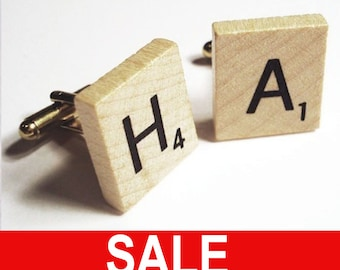 Scrabble tile game pieces on silver or gold cufflinks you choose the letters