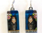 Brown Tabby Cat Earrings/  Maine Coon Kitty on Blue/ Glass Jewelry by Susan Faye