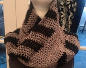 Men or Woman Unisex Infinity Scarf Neck Warmer Cowl - Gray and Black Cozy Warm Soft