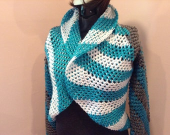 Aqua-Blue, Gray and White Swirl Sweater - Size Sm-Med