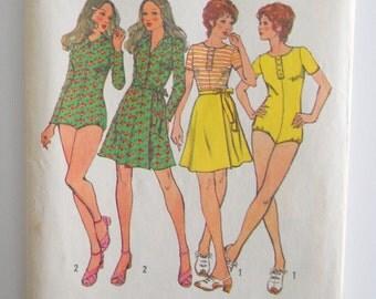 Pattern Skirt Body Suit • Vintage Simplicity Pattern Body Suit • Mini Front Wrap Skirt