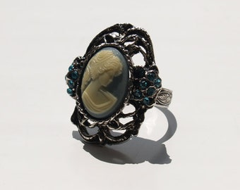 Large Neo Victorian Filigree Ring with Blue Green Grecian Lady Cameo and Soft Blue Swarovski Glass Rhinestones Adjustable Goth Antiqued