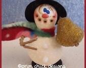 hand painted snowman gourd hp winter christmas sugared pear scarf top hat snowballs SETH prim chick teamhaha hafair ofg