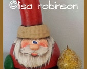 hand painted SANTA CLAUS gourd Christmas ornament sparkle prim sugared pear kringle mittens button prim chick ofg lisa robinson