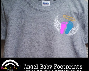 Angel Baby Footprints Iron on - Pregnancy Infant Loss Awareness