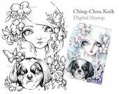 Shih Tzu - Digital Stamp Instant Download / Fantasy Art by Ching-Chou Kuik
