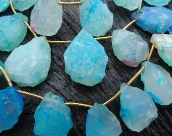 aqua blue Rough chalcedony briolette drop beads, hammered chalcedony pendant beads, by BrazilianGems