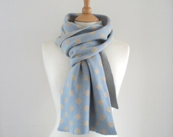 Spotted Cashmere Scarf - pale blue, linen - pattern, soft, winter, cosy, luxury