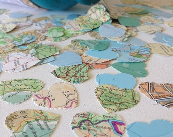 Vintage Atlas Map Heart Wedding Confetti -  Shabby Chic - wedding table decoration, table scatters, bon voyage party