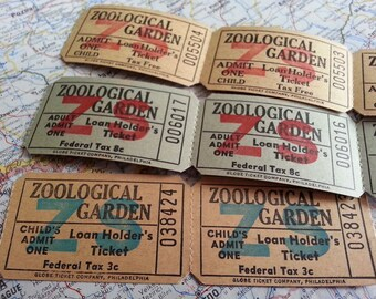 vintage tickets - zoo - zoological gardens - 12