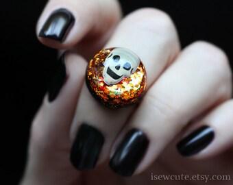Halloween Jewelry, Skull Glitter Ring, October Orange & Black Resin Spooky Skull Glitter Girls Jewelry, Adjustable Size handmade by isewcute