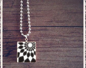 Scrabble Tile Art Pendant - Black Diamonds - Scrabble Jewelry Charm - Customize - Choose Your Style