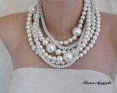 Bold Chunky Ivory Pearl Necklace, Rhinestone chain,Pearl Necklace, Bridal Necklace, Pearl Jewellery, Statement Necklace,  Wedding Necklace,