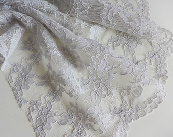 "Dove grey corded lace fabric with scalloped edge - 51"" wide - sold per metre"