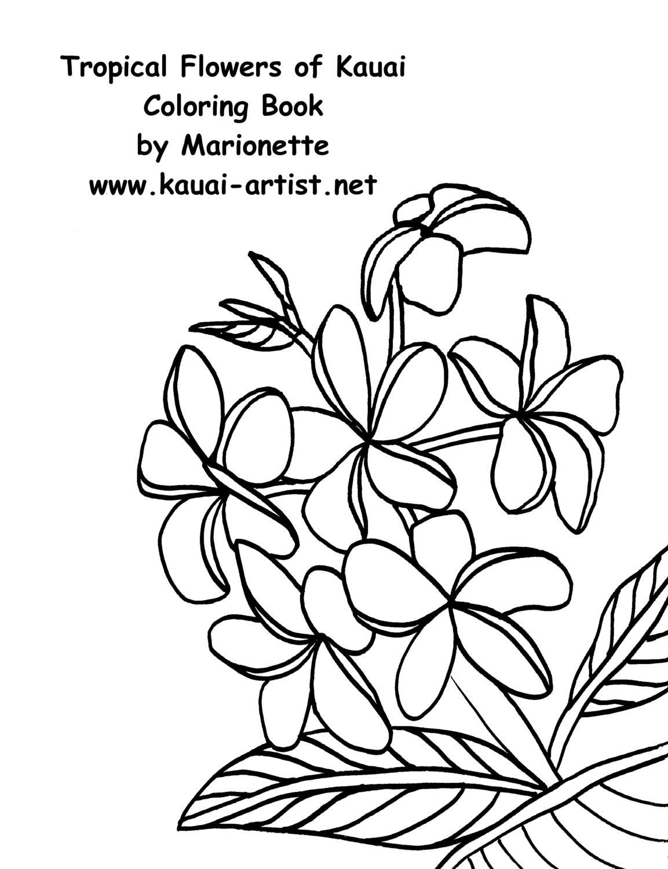 Coloring Book Tropical Flowers Of Kauai Instant Download DIY