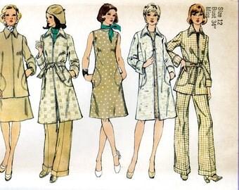 Simplicity 6231 Tunic Topper Top Jacket Duster Coat Sheath Dress Pants Size 12 Uncut Vintage Sewing Pattern 1974