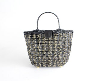 S A L E || Italian woven box handbag | vintage straw structured bag | black and gold purse | new with tags