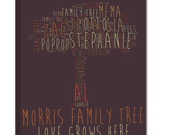 Gift for Dad Family Tree Art -  Housewarming, Family Quotes Art 12X16 Geezese Canvas Art