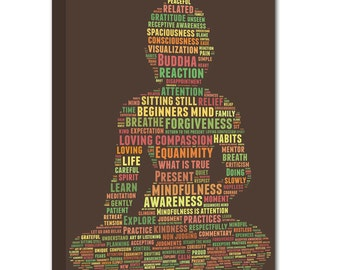 Mindfulness Word Art Zen Buddha Words of Wisdom Canvas Sign STOCK (as is) 24X36 Geezees