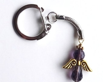 Purple Survivor and Awareness Cancer Angel Purse/Zipper Charm or Key Chain - ACS Relay for Life Donation - Ready to Ship