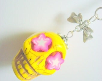 Gigantic Yellow Sugar Skull Pink Starry Eyes and Bow Day of the Dead Pendant or Ornament