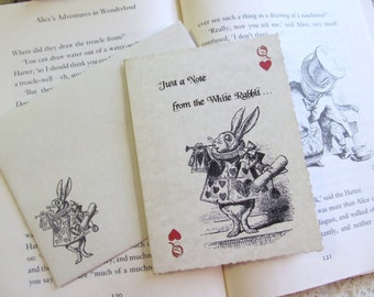 Alice White Rabbit Parchment Note Thank You Cards or Save the Date with Envelopes - Set of 6 - Alice Party Wedding Shower