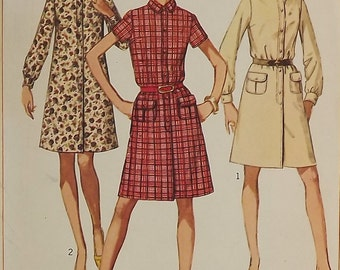 Vintage 60's Sewing Pattern, Misses' Dress, Size 8