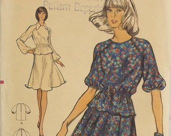 Vintage 70's Sewing Pattern, Misses Top and Skirt, Size 12