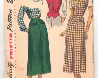 "Vintage Sewing Pattern 1940's Ladies' Skirt and Weskit Simplicity 2720 32"" Bust - Free Pattern Grading E-book Included"
