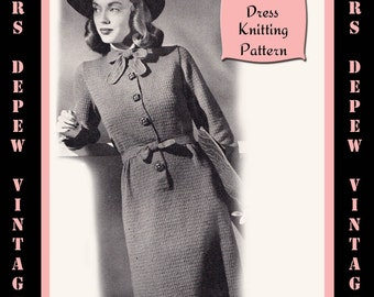Vintage 1940's Ladies' One Piece Dress Knitting Pattern Reproduction #4457 - INSTANT DOWNLOAD