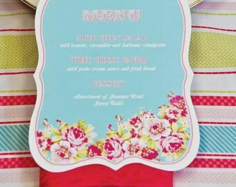 10 Die Cut Food Menu Cards- Spring Flowers