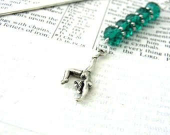 Gymnastics Bookmark with Emerald Green Glass Beads Shepherd Hook Steel Bookmark Silver Color