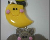 SALE Polymer Clay Dangle Charm Moon and Bat