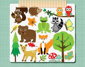 Bright Woodland Clipart Forest Animals Clip Art Digital Scrapbooking Elements - Personal and Commercial Use INSTANT DOWNLOAD