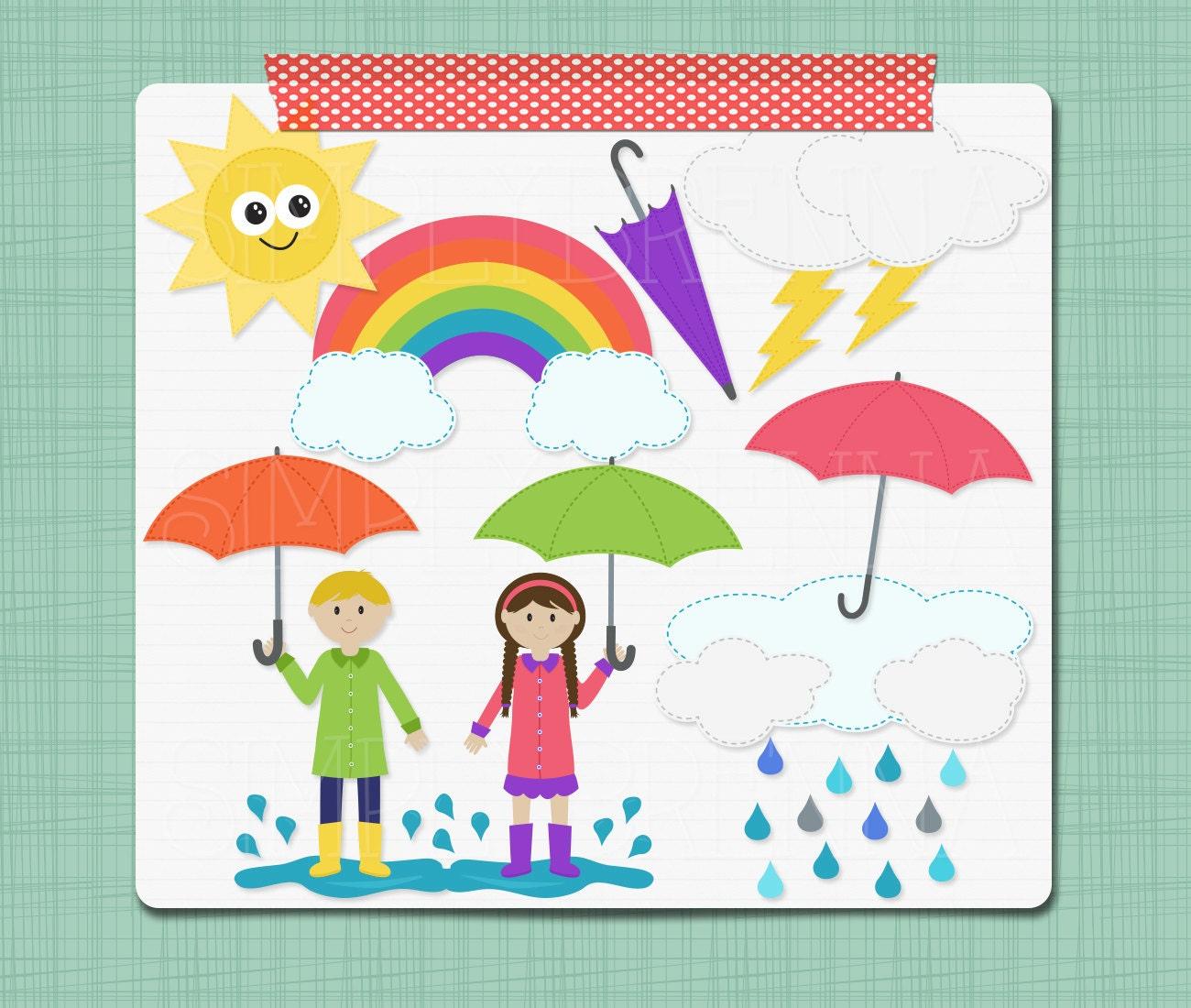 Rainy Day Clip Art: Rain Clipart Rainy Day Clip Art Digital Scrapbooking Elements