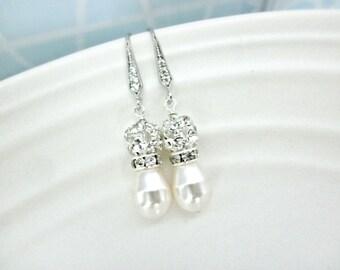 Pearl and Rhinestone Wedding earrings // Cubic Zirconia Bridal Earrings //  Earrings, Rhinestone and Swarovski Pearl Jewelry
