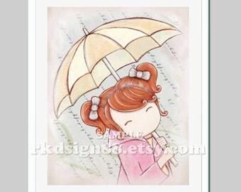 Rainy day girls room decor kids wall art baby girl nursery decor kids print, umbrella art, red hair