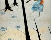 Little Saviour print| 8X10 | girl and fox, red fox, inner strength, vegan art, animal lover painting anti fox hunt