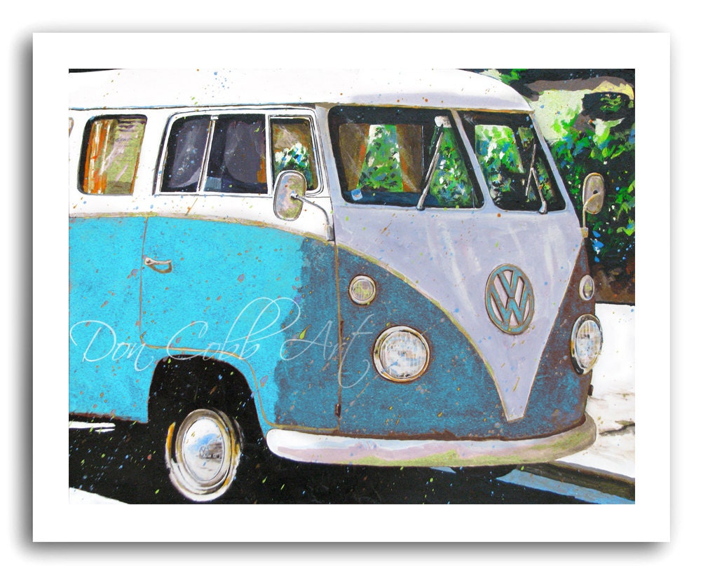 Volkswagen Bus Art Vw Sky Blue Prints Signed And