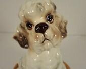 Vintage Ceramic Poodle in Basket Music Box