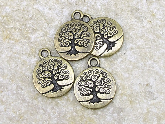 20 Tree Charms - Antique Brass Charms - Tree of Life Charms - TierraCast Pewter Brass Oxide Bodhi Tree Drops - Vintage Bronze Color (PA26)