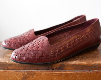 Vintage Burgundy Woven Leather Huaraches - Size 7 1/2