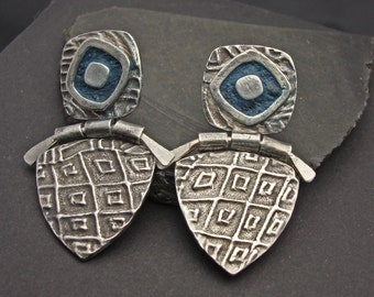 Earrings, silver and concrete, artisan, handmade, Denim Blue CONCRETE Hinged Earrings - New Style